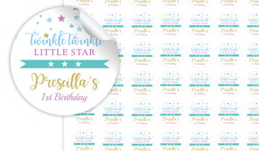 Twinkle Star 1st Birthday Birthday Small 25mm Custom Stickers - Set Of 70 - Australia's #1 Kids Party Supplies