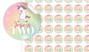 Unicorn Dabbing Birthday Small 25mm Custom Stickers - Set Of 70 - Australia's #1 Kids Party Supplies