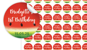 Watermelon Birthday Small 25mm Custom Stickers - Set Of 70 - Australia's #1 Kids Party Supplies