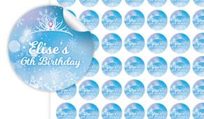 Ice Princess Birthday Small 25mm Custom Stickers - Set Of 70