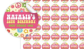 60s Hippy Birthday Small 25mm Custom Stickers - Set Of 70