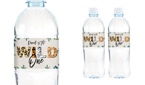 Wild One Birthday Birthday Water Bottle Stickers (Set Of 5) - Australia's #1 Kids Party Supplies