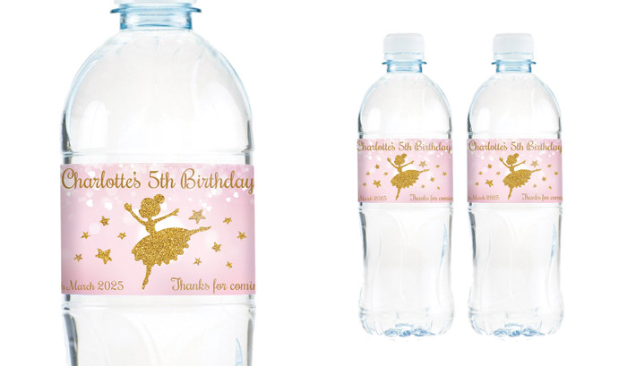 Golden Ballerina Birthday Birthday Water Bottle Stickers (Set Of 6) - Australia's #1 Kids Party Supplies