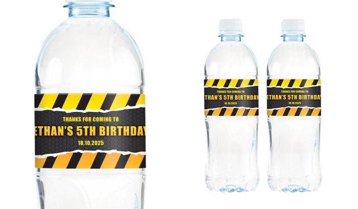 Construction Builders Birthday Birthday Water Bottle Stickers (Set Of 5) - Australia's #1 Kids Party Supplies