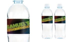 Disco Lights Birthday Birthday Water Bottle Stickers (Set Of 5) - Australia's #1 Kids Party Supplies