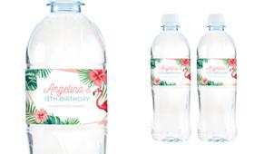 Flamingle Flamingo Birthday Birthday Water Bottle Stickers (Set Of 6) - Australia's #1 Kids Party Supplies