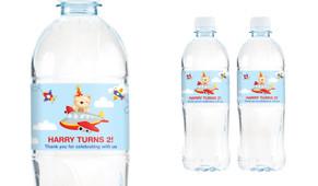 Bear Air Plane Birthday Birthday Water Bottle Stickers (Set Of 5) - Australia's #1 Kids Party Supplies