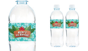 Hawaiian Luau Birthday Birthday Water Bottle Stickers (Set Of 6) - Australia's #1 Kids Party Supplies