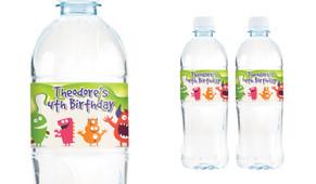 Monster Slime Birthday Birthday Water Bottle Stickers (Set Of 6) - Australia's #1 Kids Party Supplies