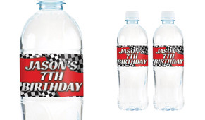 Racing Car Birthday Birthday Water Bottle Stickers (Set Of 6) - Australia's #1 Kids Party Supplies