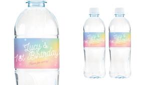 Rainbow Sparkle Birthday Birthday Water Bottle Stickers (Set Of 5) - Australia's #1 Kids Party Supplies
