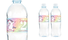 Unicorn Dabbing Birthday Birthday Water Bottle Stickers (Set Of 6) - Australia's #1 Kids Party Supplies