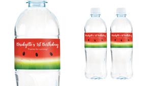 Watermelon Birthday Birthday Water Bottle Stickers (Set Of 6) - Australia's #1 Kids Party Supplies