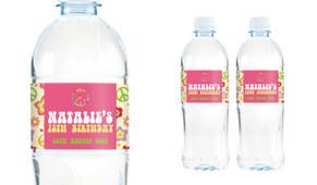 60s Hippy Birthday Birthday Water Bottle Stickers (Set Of 6)