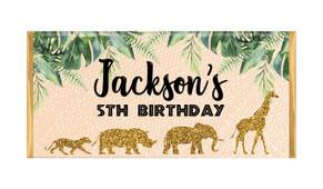 Jungle Gold Birthday Personalised Chocolate Bars