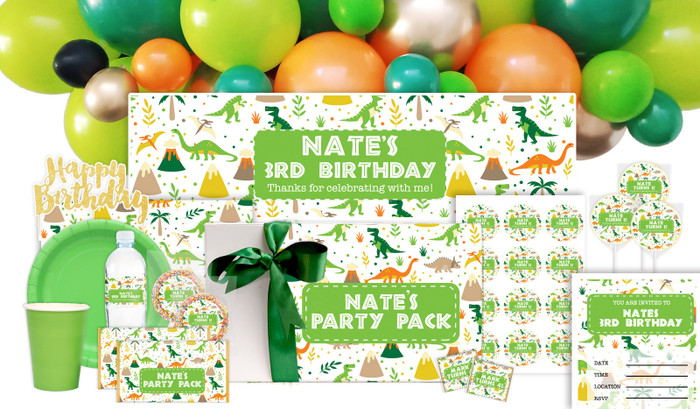 Dinosaur Background Birthday Personalised Party Pack