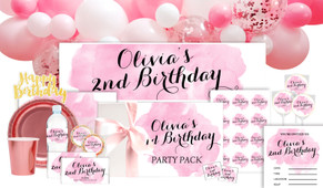 A Splash Of Watercolour Pink Personalised Party Pack