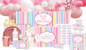 Pastel Stripe Personalised Birthday Party Pack