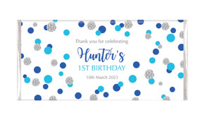 Confetti Blue And Silver Personalised Birthday Chocolate Bar