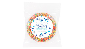 Confetti Blue And Silver Personalised Birthday Chocolate Freckle