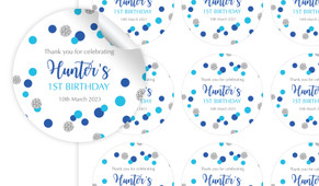 Confetti Blue And Silver Personalised 65mm Labels