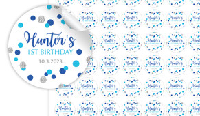 Confetti Blue And Silver Personalised Birthday 25mm Labels