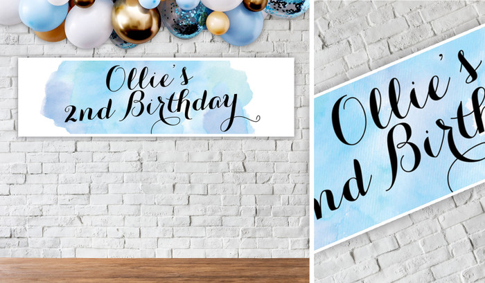 A Splash Of Watercolour Blue Birthday Party Banner - 1.2m Wide