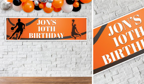 Basketball Birthday Party Banner - 1.2m Wide