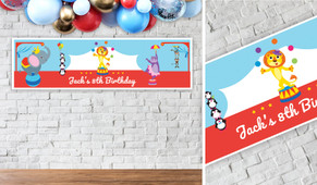 Circus Animals Birthday Party Banner - 1.2m Wide
