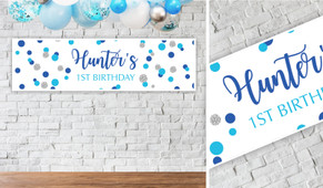 Confetti In Blue And Silver Birthday Party Banner - 1.2m Wide