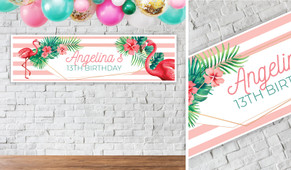 Flamingle Flamingo Birthday Party Banner - 1.2m Wide