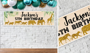 Jungle Gold Birthday Party Banner - 1.2m Wide
