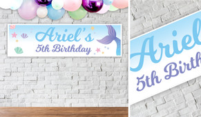 Mermaid Birthday Party Banner - 1.2m Wide