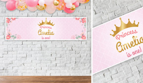Princess Tiara Birthday Party Banner - 1.2m Wide