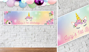 Sparkle Unicorn Birthday Party Banner - 1.2m Wide