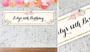 Spring Florals Birthday Party Banner - 1.2m Wide
