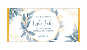 Blue Leaves Christening Chocolate Bar