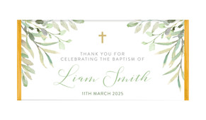 Golden Greenery Personalised Baptism Chocolate Bar