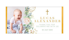 Leaves Photo Personalised Christening Chocolate Bar