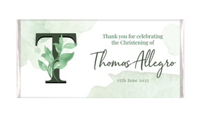 Monogram Green Personalised Christening Chocolate Bar