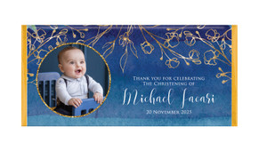 Navy Gold Photo Personalised Christening Chocolate Bar
