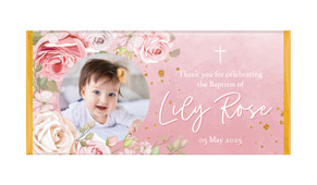 Pink Roses Personalised Baptism Chocolate Bar
