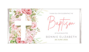 Roses Cross Personalised Baptism Chocolate Bar