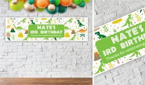 Dinosaur Background Birthday Party Banner - 1.2m Wide