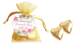 Magnificent Floral Personalised Christening Organza Bag With Hearts