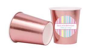 Pastel Stripe Personalised Party Cups