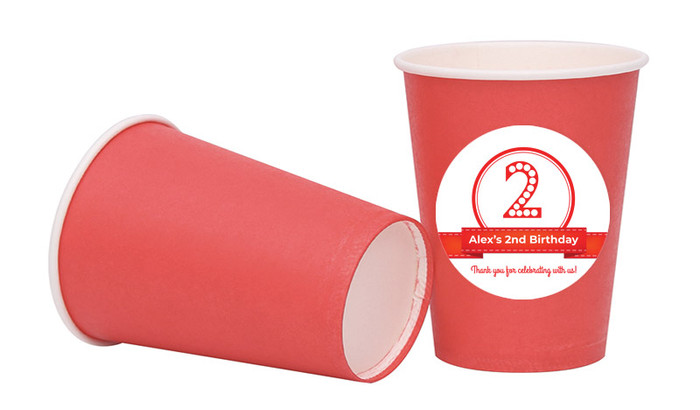 Numbers In Red Personalised Party Cups