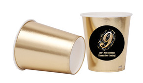 Gold Number Personalised Party Cups