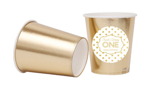 Gold Polkadots Personalised Party Cups