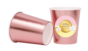 Pink & Gold Personalised Party Cups